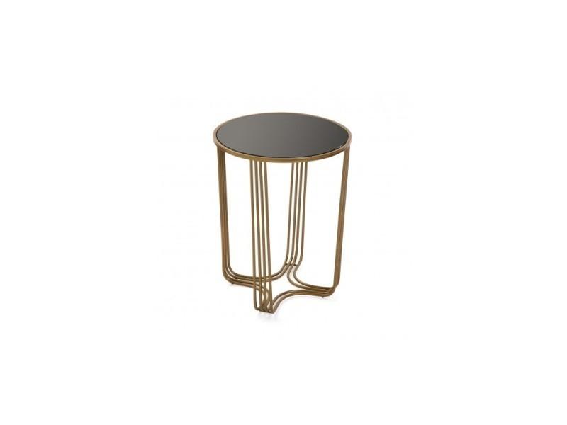 Table d'appoint dorée et verre trempée auxiliar