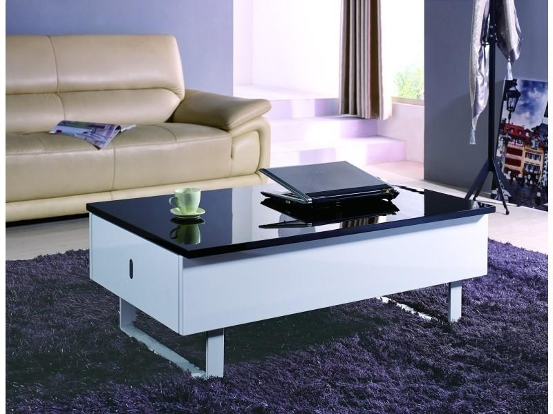Table basse multifonction laque noir et blanc malindo-