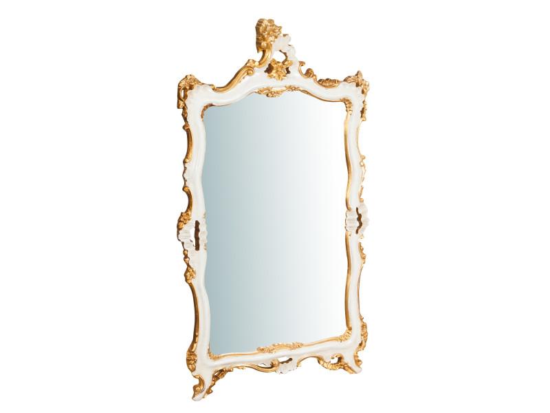 Miroir, long miroir mural rectangulaire, à accrocher au mur, horizontal et vertical, shabby chic, salle de bain, chambre, cadre finition ivoire et or antique, grand, long, l66xp7xh118 cm. Style shabby chic.
