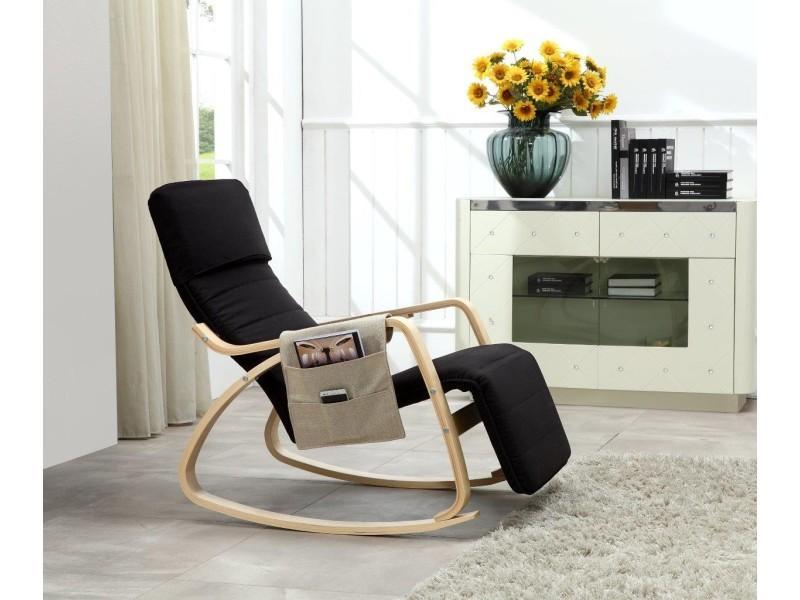 Rocking-Chair Fauteuil Relaxation avec Organisateur Noir Paolo Collaner e75c5b135e2