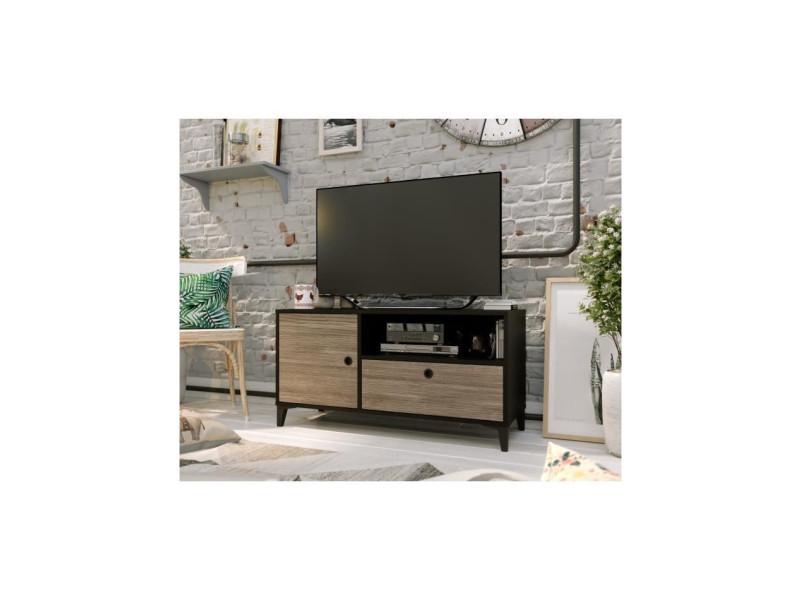 Finlandek meuble tv jones - industriel - noir mat et décor chene - l 110 cm