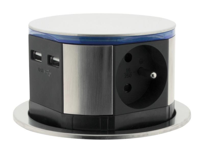 Bloc multiprise encastrable compact led 3 prises 16a 2p+t & 2x usb - finition inox - otio 760100
