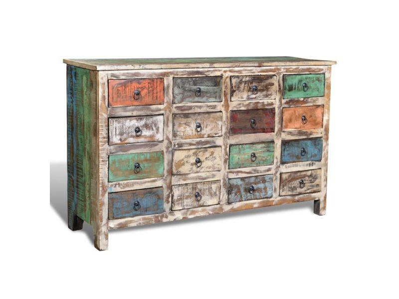 Icaverne - commodes categorie armoire avec 16 tiroirs bois massif de récupération multicolore
