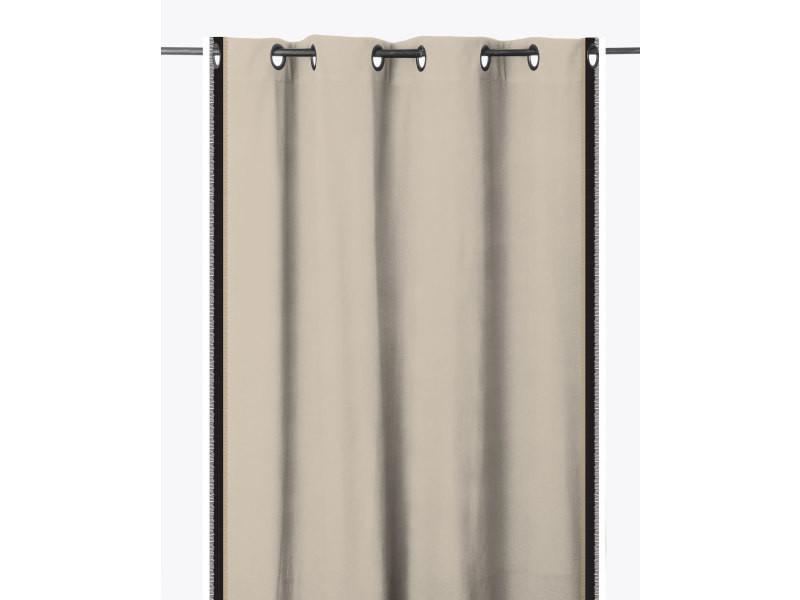 Rideau 100% coton à rayures frangées 140 x 280 cm