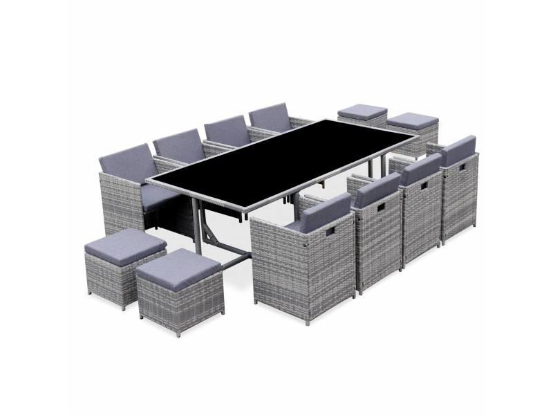 Salon de jardin 8-12 places – vabo – coloris nuance de gris. Coussins gris chiné. Table encastrable