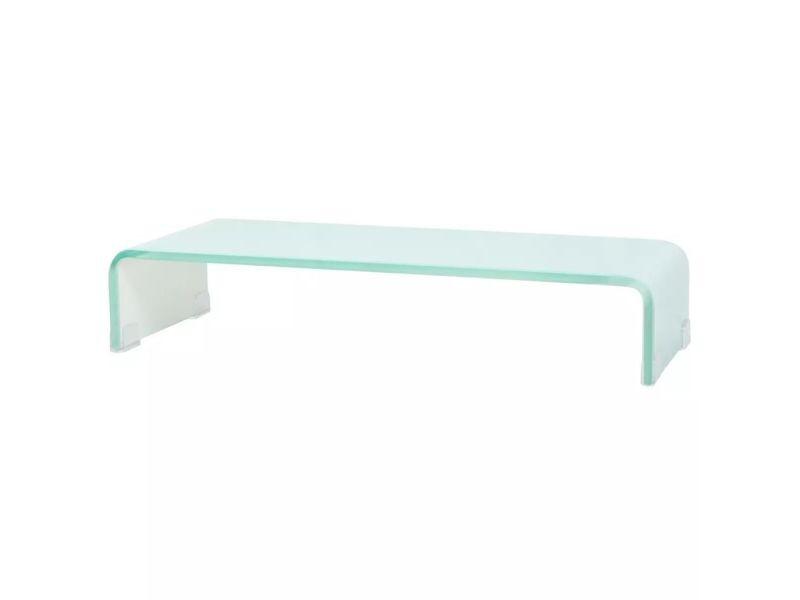 Meuble télé buffet tv télévision design pratique pour moniteur 60 cm verre blanc helloshop26 2502253