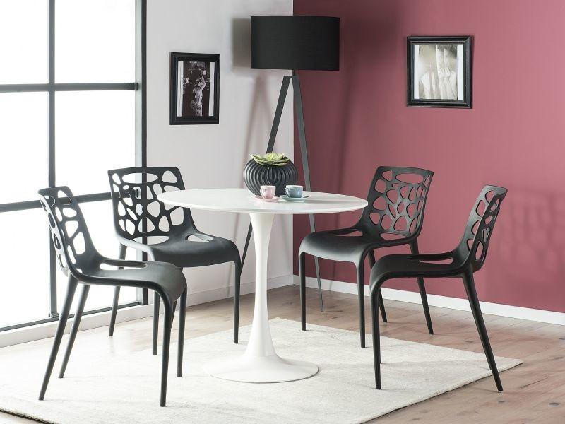 Table de salle à manger blanche et ronde 90 cm boca 187319