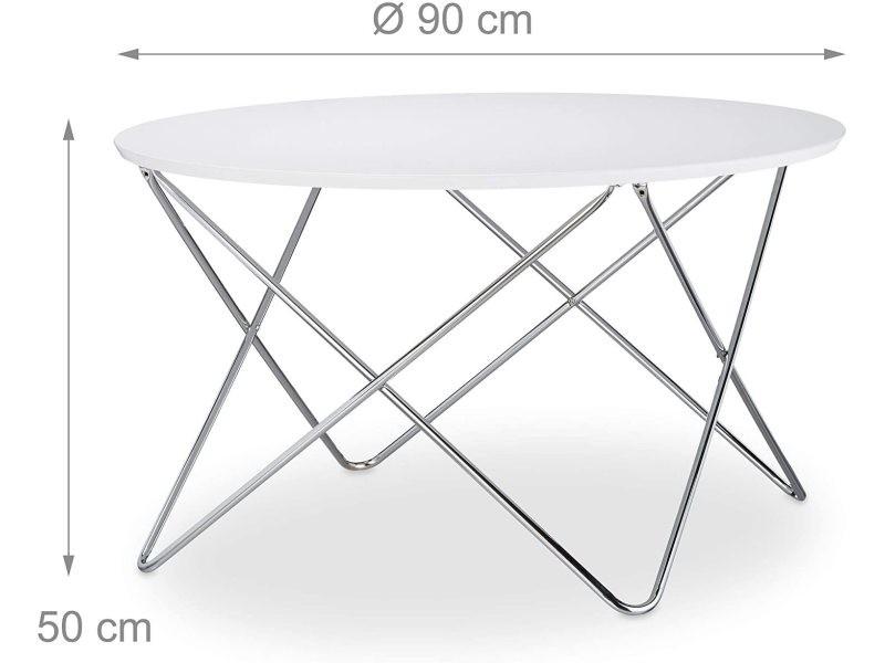 Table basse d'appoint ronde diamètre 90 cm blanc helloshop26 13_0002677_2