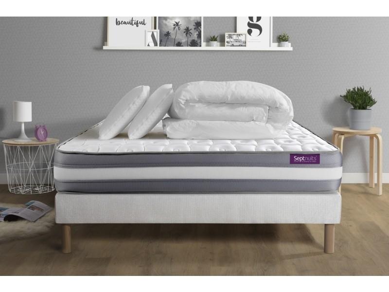pack matelas sommier 140x190 memo plus m moire de forme 3 zones 2 oreillers couette. Black Bedroom Furniture Sets. Home Design Ideas