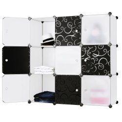Armoire étagère rangement montage simple système enfichable 9 compartiments blanc et noir helloshop26 2012065