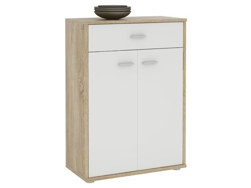 buffet calais commode tiroir rangement m lamin d cor ch ne sonoma et blanc mat vente de. Black Bedroom Furniture Sets. Home Design Ideas