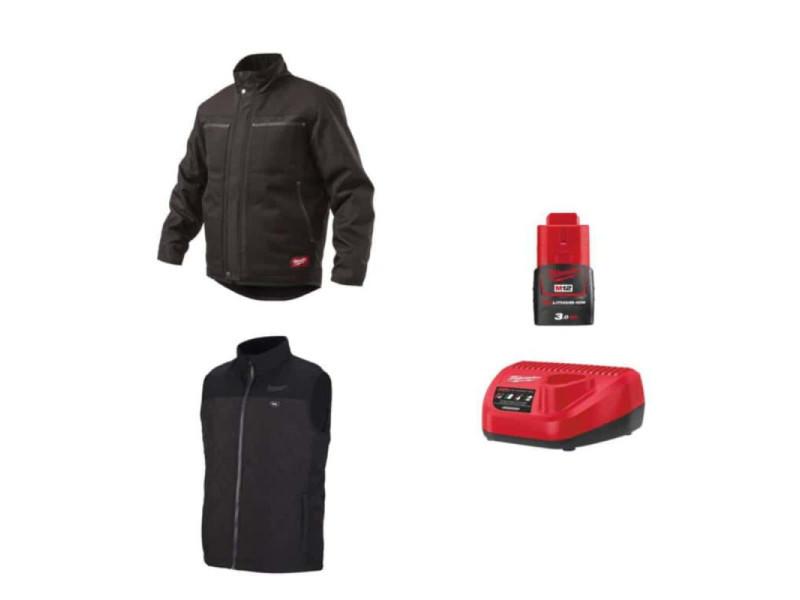 Pack milwaukee taille xxl - blouson noir wgjcbl - veste chauffante sans manche hbwp - chargeur de batterie 12v m12 c12 c - batterie m12 3.0 ah PackBlousonVesteChauffanteTailleXXL