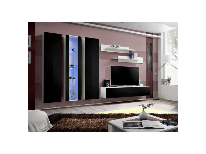 Ensemble meuble tv mural - fly v- 310 cm x 190 cm x 40 cm - blanc et noir