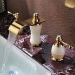 Robinet de lavabo style antique à double poignée finition ti-pvd, céramique