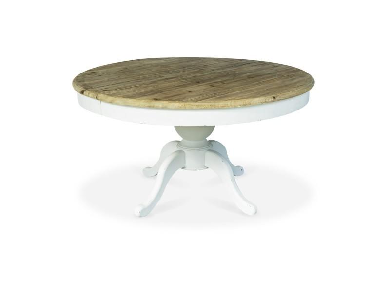 Table ronde extensible en bois sidonie blanc