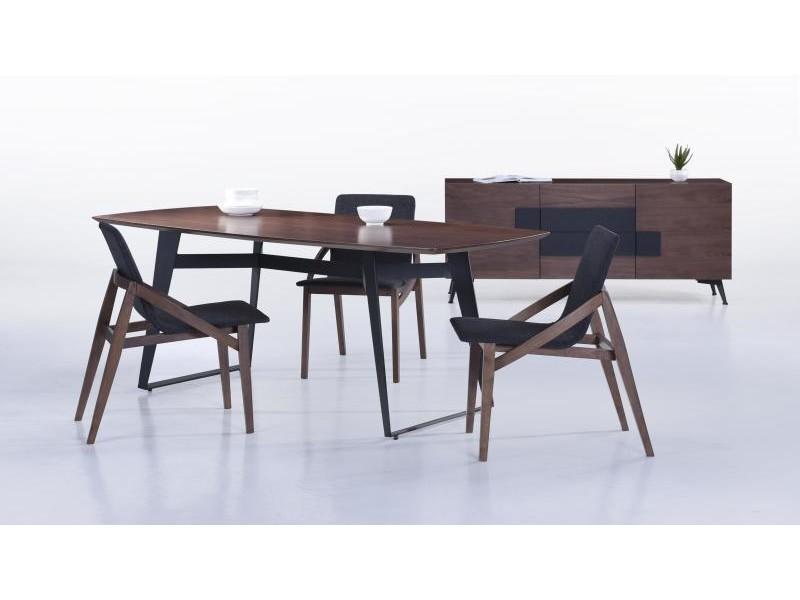 table moderne 200cm plateau noyer pieds noir sven vente de delorm conforama. Black Bedroom Furniture Sets. Home Design Ideas