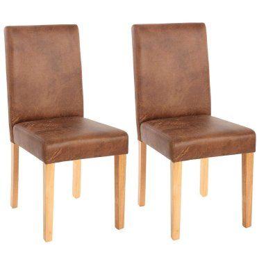 Lot de 2 chaises de salle à manger simili cuir marron