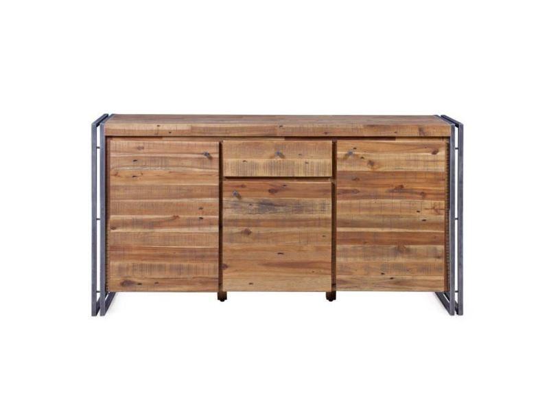 Buffet - bahut - enfilade buffet industriel en métal et mdf plaqué bois pin acacia - l 150 cm
