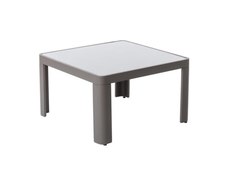 Table basse d'extérieur aluminium/verre gris - flores - l 70 x l 70 x h 40 - neuf