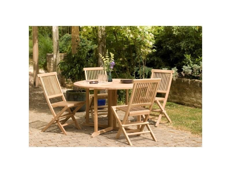 Salon de jardin en teck avec 1 table ronde papillon de jardin et 4 ...