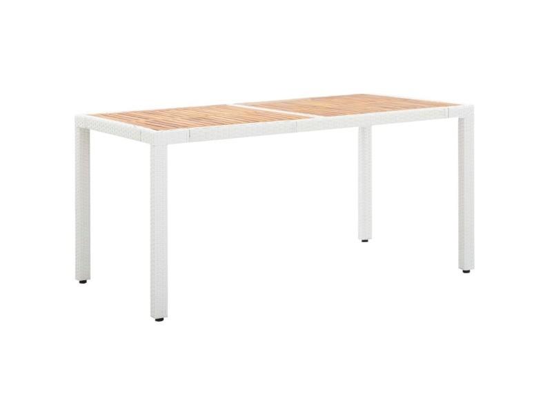 Distingué mobilier de jardin categorie tokyo table de jardin blanc 150x90x75 cm résine tressée et acacia