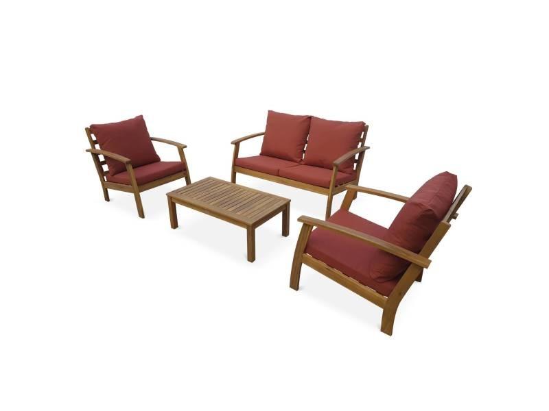 Salon de jardin en bois 4 places - ushuaïa - coussins terracotta. Canapé. Fauteuils et table basse en acacia. Design