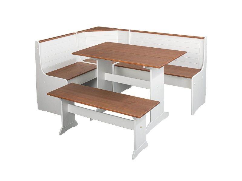 Lucain - angle repas complet bois massif avec banc