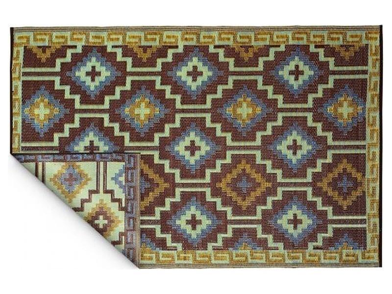 Tapis intérieur extérieur lhasa bleu roi et chocolat 180 x