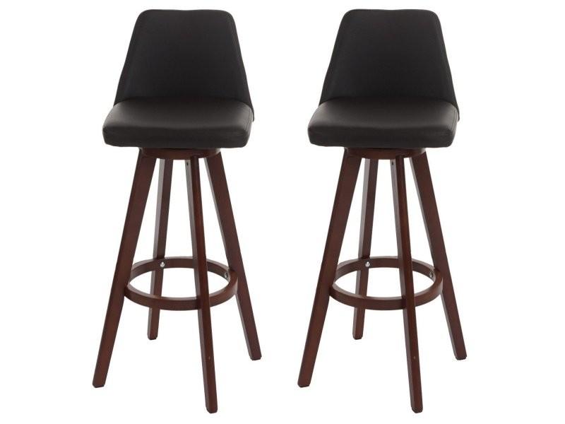 903264d8abcb0d Lot de 2 tabourets de bar simili-cuir marron foncé pieds en bois tdb04012 -  Vente de Chaise de cuisine - Conforama