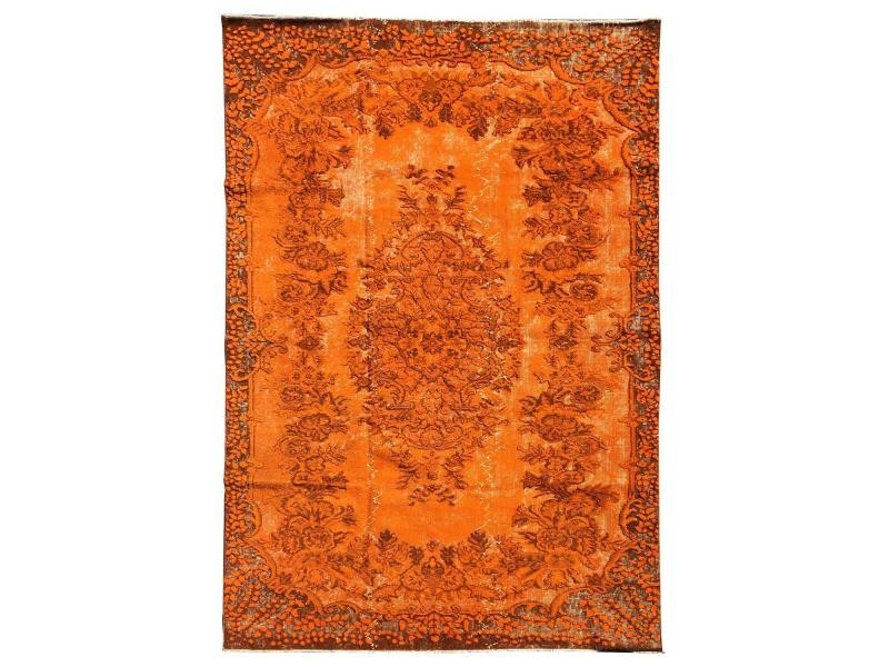 Tapis grand dimensions unique oriental vintage orange 160 x ...