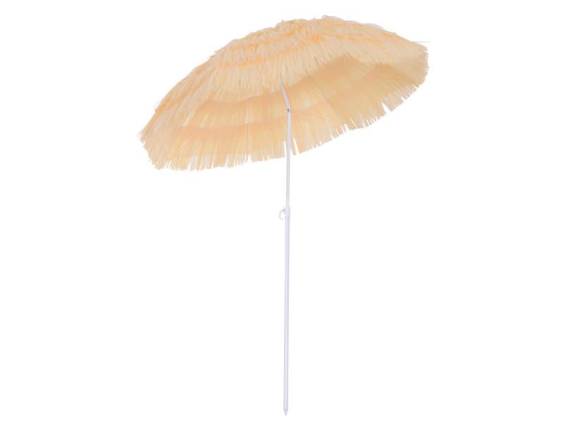Parasol de plage jardin design hawai 160cm raphia artificiel beige