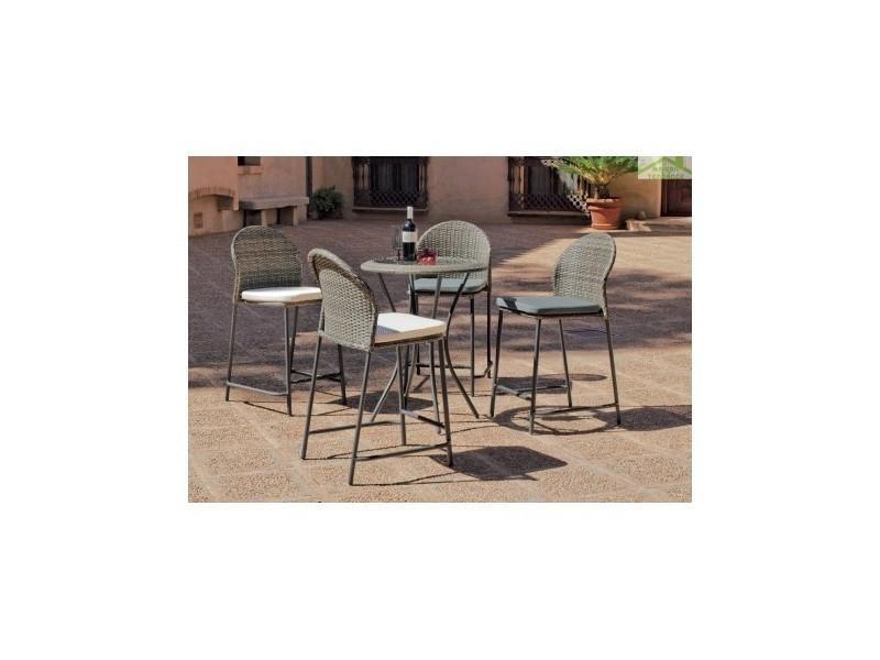 Ensemble de table haute de jardin 75x75 cm + 4 tabourets hauts avec ...