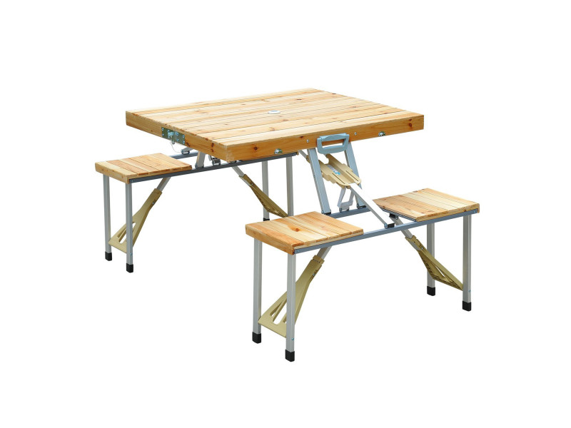 Table de camping jardin pique nique pliante en bois avec 4 Table en bois pliante