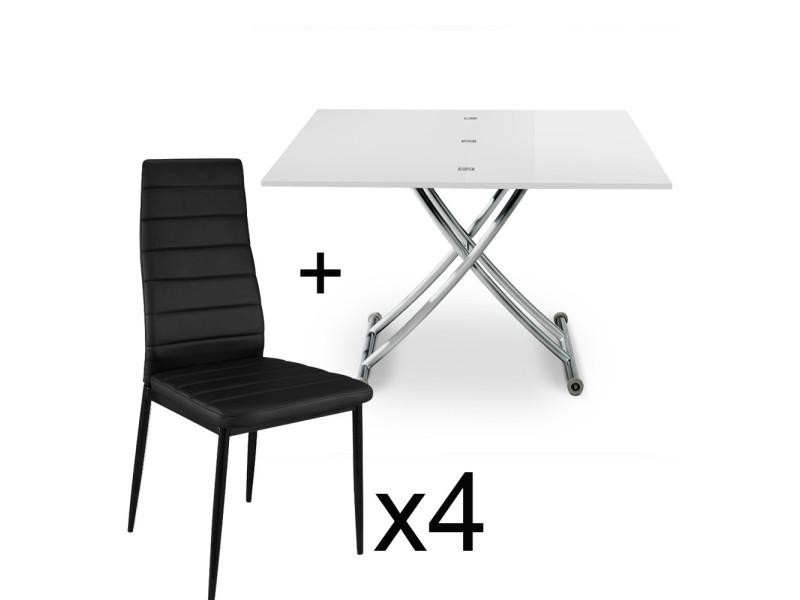 Table basse relevable blanc laqué et lot de 4 chaises noir