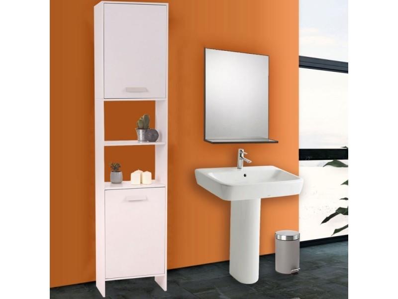 Meuble colonne salle de bain en bois design blanc vente - Meuble colonne salle de bain conforama ...