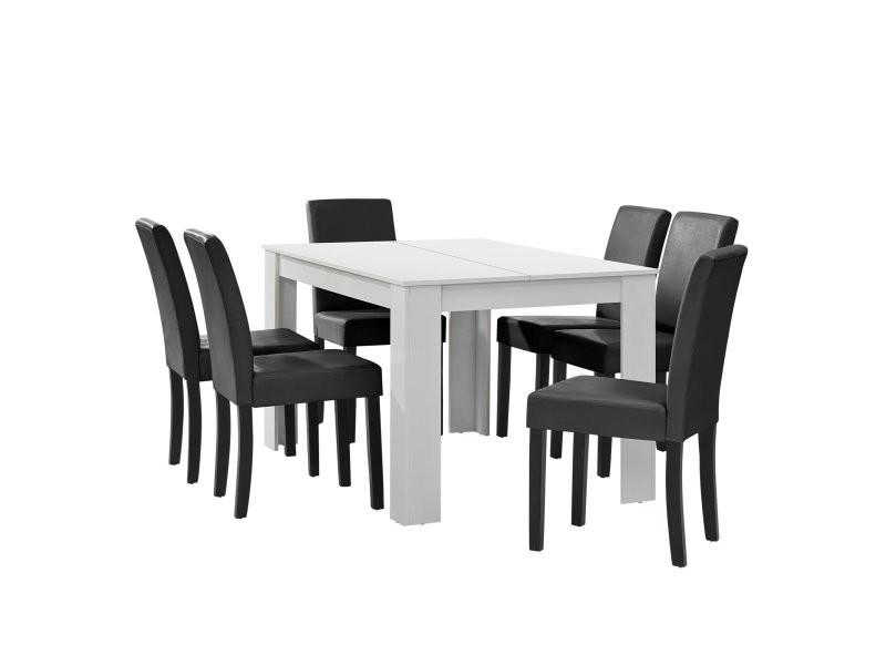 Table à manger blanc mat avec 6 chaises gris foncé cuir synthétique rembourré 140x90 helloshop26 03_0004022