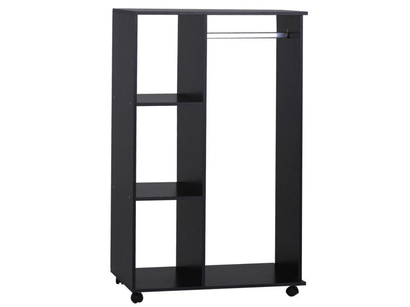 Armoire penderie armoire de rangement mobile panneaux de particules noir