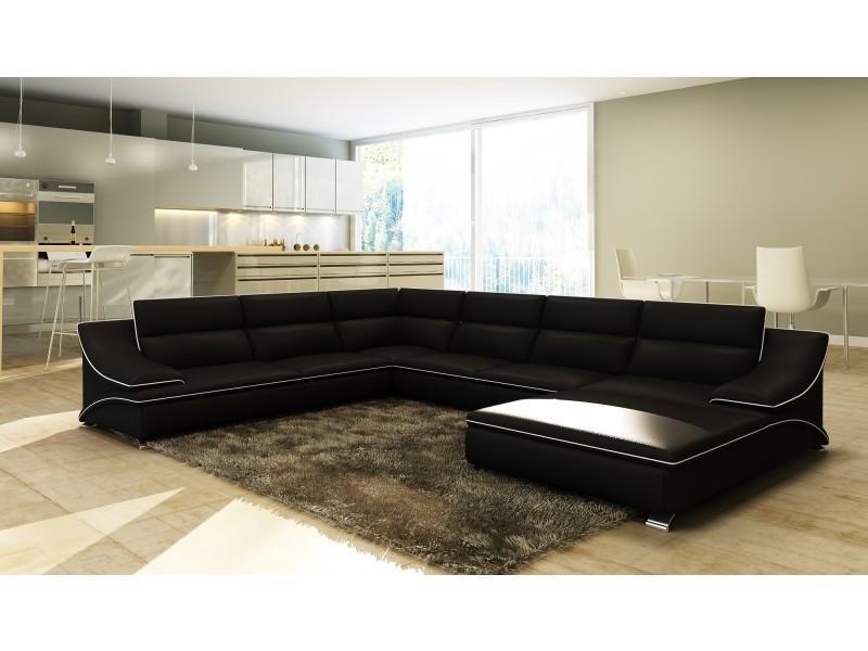 Canapé d'angle en cuir noir et blanc design roxane-