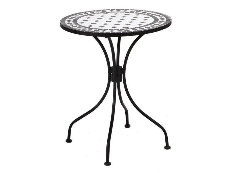 Table ronde en céramique et acier noire et blanche (d60cm) - agatha ...