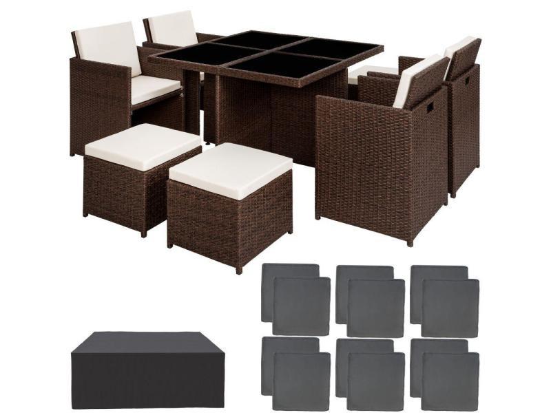Salon de jardin rotin résine tressé synthétique 8 places avec 2 sets de housses + housse de protection marron foncé helloshop26 2108075