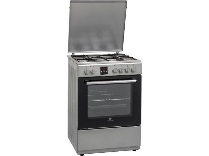 Continental edison - cecg6065fcs - cuisiniere mixte - 4 feux gaz - four electrique 65l - l60cm - silver