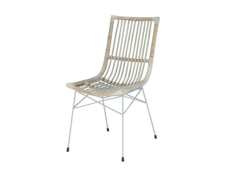Soldes 44 chaise remi en kubu et pied en acier rotin - Chaise rotin conforama ...