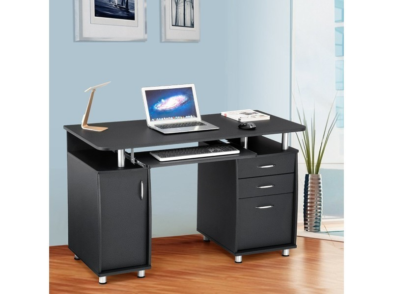 Superbe bureau informatique avec rangement noir neuf sglcd b