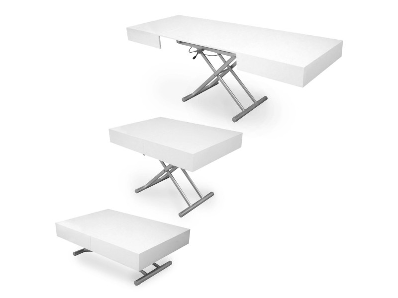 Ciara - table basse laquée blanc relevable extensible