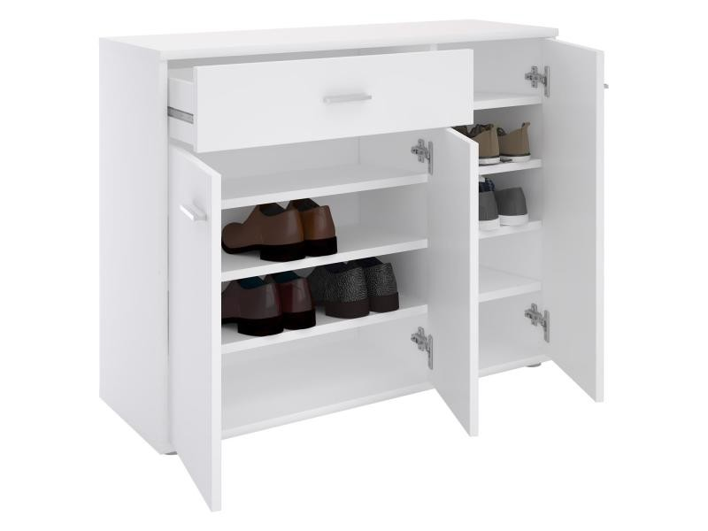 meuble chaussures commode rangement mdf m lamin blanc vente de meuble chaussures conforama. Black Bedroom Furniture Sets. Home Design Ideas
