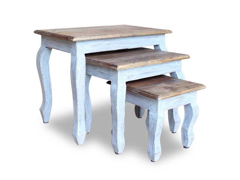 Vidaxl ensemble de tables gigognes 3 pcs bois de récupération massif 244505