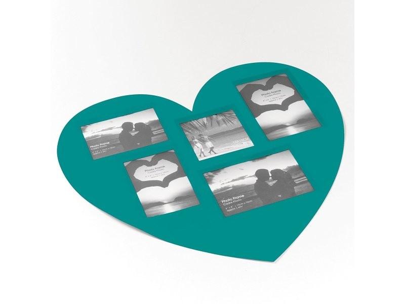Set de table cadre photos coeur bleu 45 x 41 cm