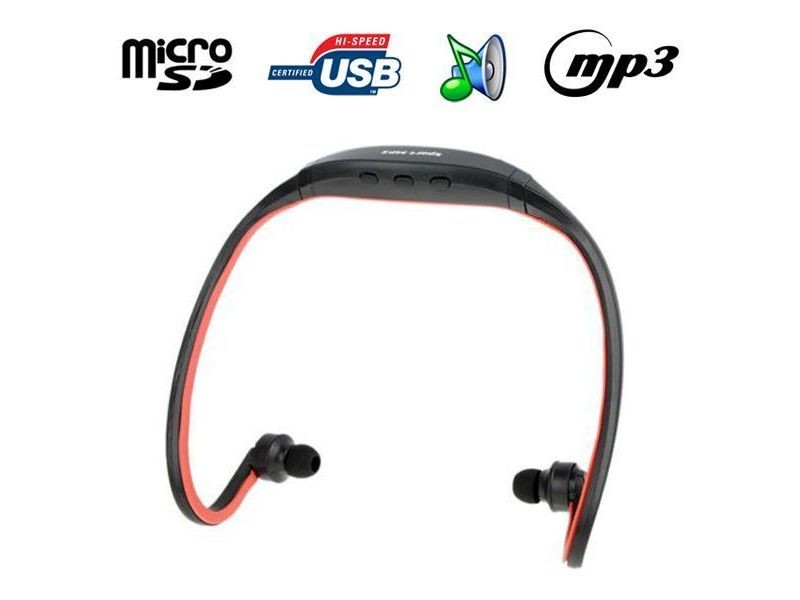 Casque Mp3 Sport Lecteur Audio Sans Fil Micro Sd Running Vélo Rouge