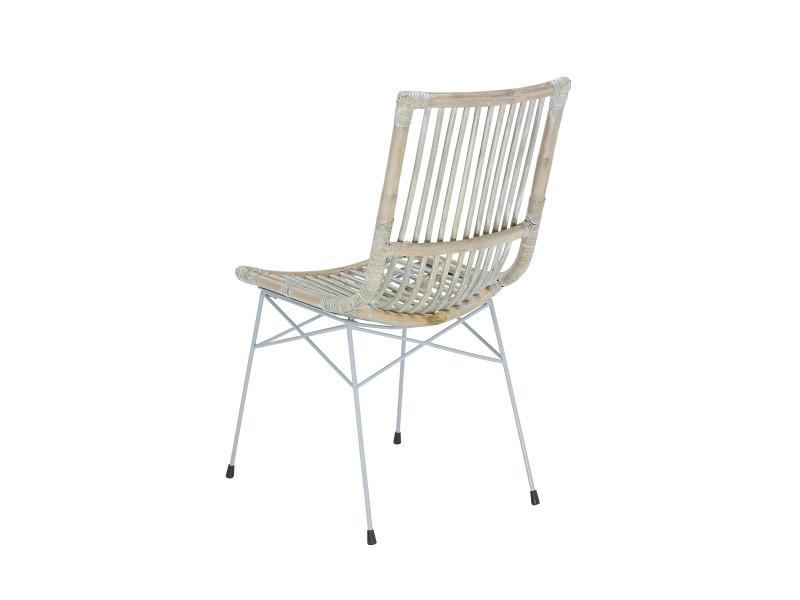 Soldes 44 chaise remi en kubu et pied en acier rotin - Chaise en rotin conforama ...