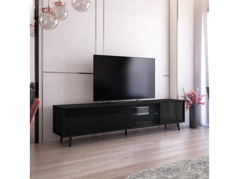 Meuble Tv Galhad 175 Cm Noir Mat Noir Brillant Eclairage Led Vente De Meuble Tv Conforama